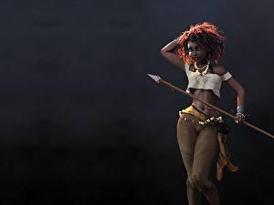 Обои Воители Негры С копьем Красивые Jason Knight, Huntress, art 3D Графика Девушки