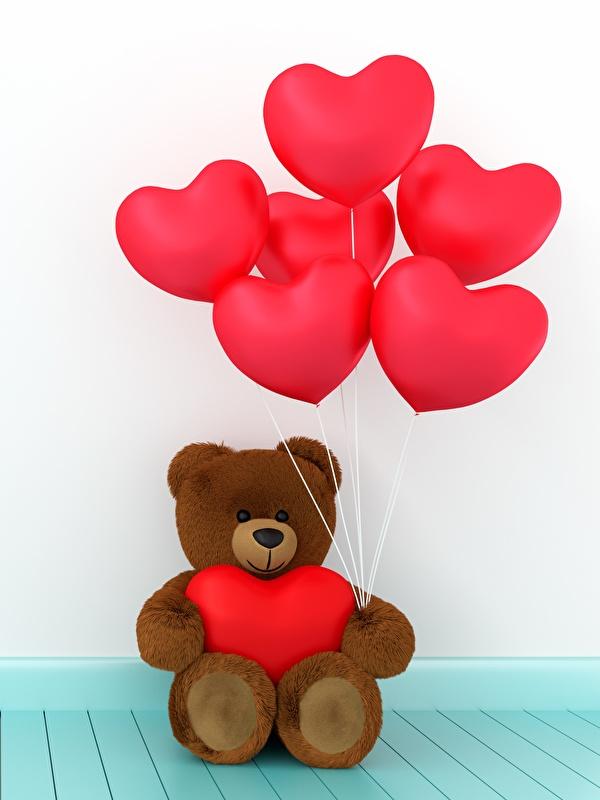Фото День всех влюблённых сердца Воздушный шарик 3D Графика Мишки 600x800 День святого Валентина серце Сердце сердечко воздушные шарики воздушным шариком воздушных шариков 3д Плюшевый мишка