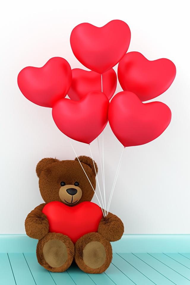 Фото День всех влюблённых сердца Воздушный шарик 3D Графика Мишки 640x960 День святого Валентина серце Сердце сердечко воздушные шарики воздушным шариком воздушных шариков 3д Плюшевый мишка