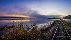 Фотографии Реки Железные дороги Осень Рельсы Ветвь Природа