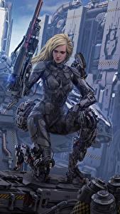 Обои Воины Иллюстрации к книгам Киборг Блондинка Michael Cooper, An Aeon 14 Novel, The Intrepid Saga Фантастика Девушки