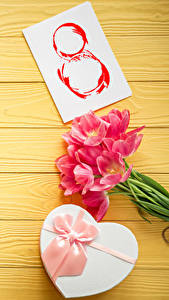 Фотография Праздники Международный женский день Тюльпаны Доски Подарки Бантик Цветы