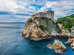 Обои Хорватия Замки Камни Дубровник Скала Залив город