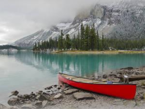 Фото Канада Парки Гора Озеро Побережье Лодки Джаспер парк Природа