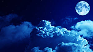 Картинки Небо Ночные Луна Облака Природа
