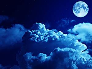 Картинки Небо Ночные Луны Облака Природа