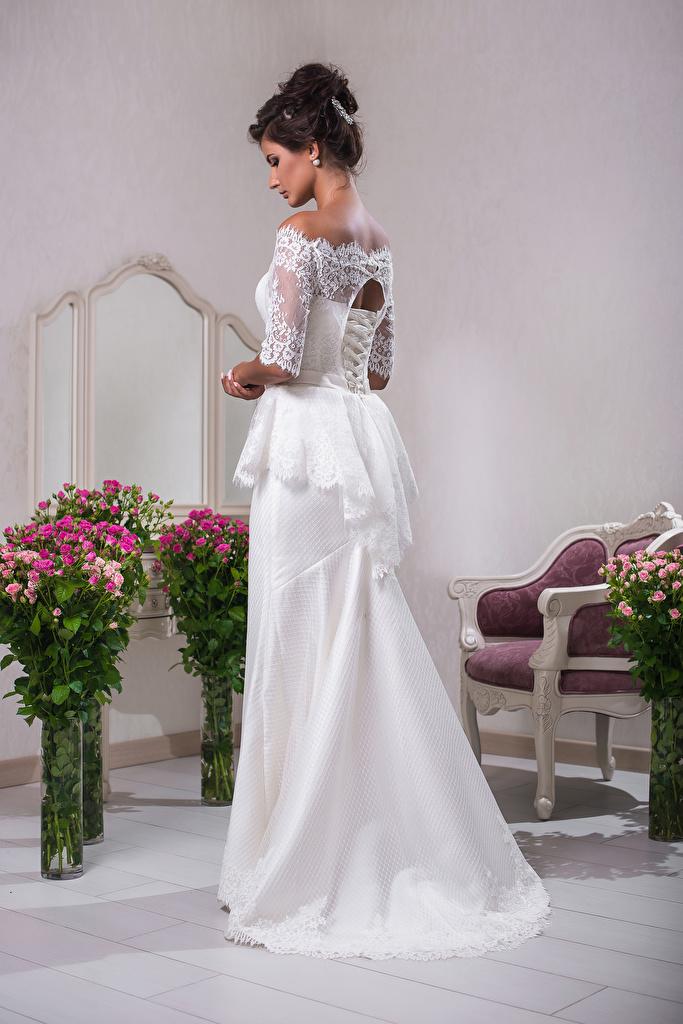 Фотография шатенки невесты Букеты Девушки Платье Шатенка Невеста девушка молодые женщины молодая женщина платья