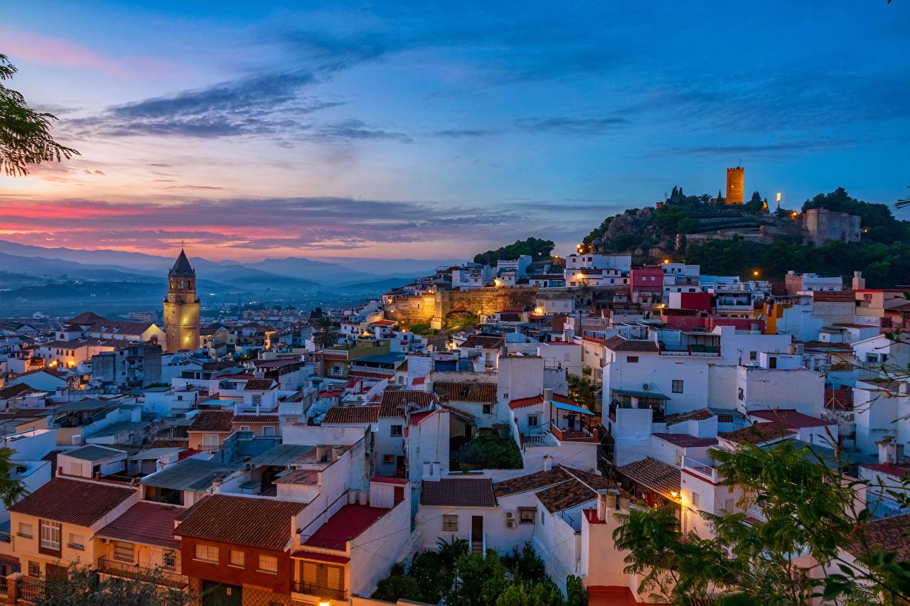 Фото Испания Malaga Крыша Вечер Дома Города крыше краши город Здания