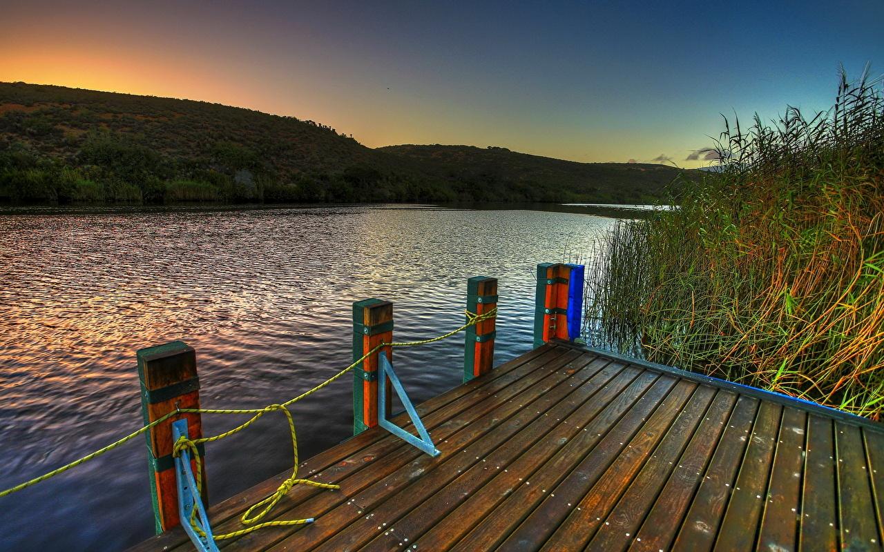 Фото Природа Реки Пристань река речка Пирсы Причалы