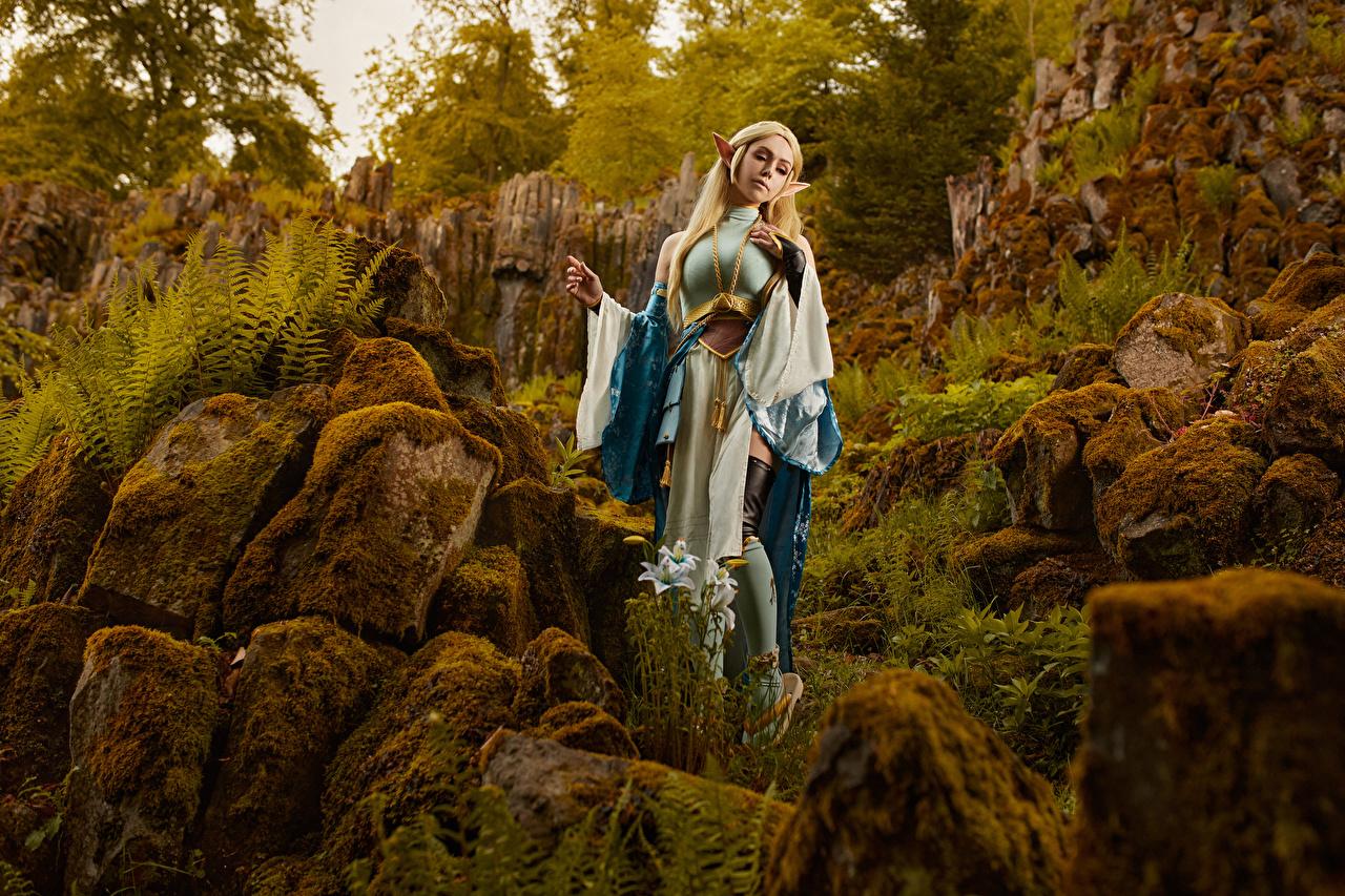 Фотографии Михаил Давыдов фотограф Косплей Zelda позирует Фантастика молодые женщины Мох Камень Поза девушка Девушки Фэнтези молодая женщина мха мхом Камни