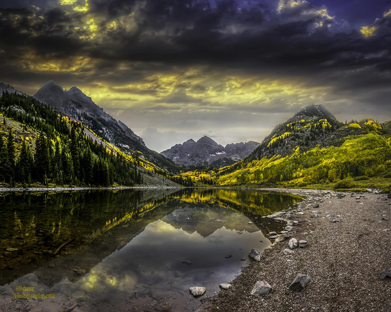Фотография штаты Colorado гора Природа осенние Озеро Пейзаж Камень США америка Горы Осень Камни