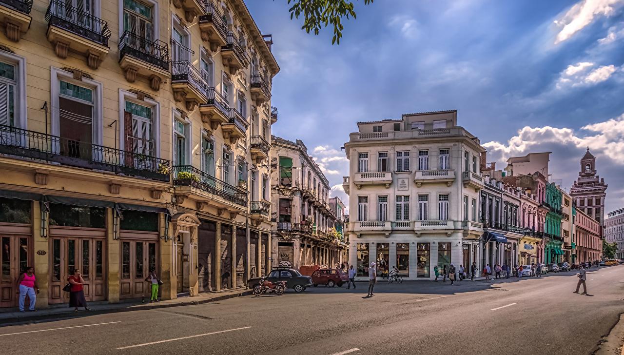 Фотография Куба Havana HDRI улиц Дороги Дома город HDR улице Улица Здания Города