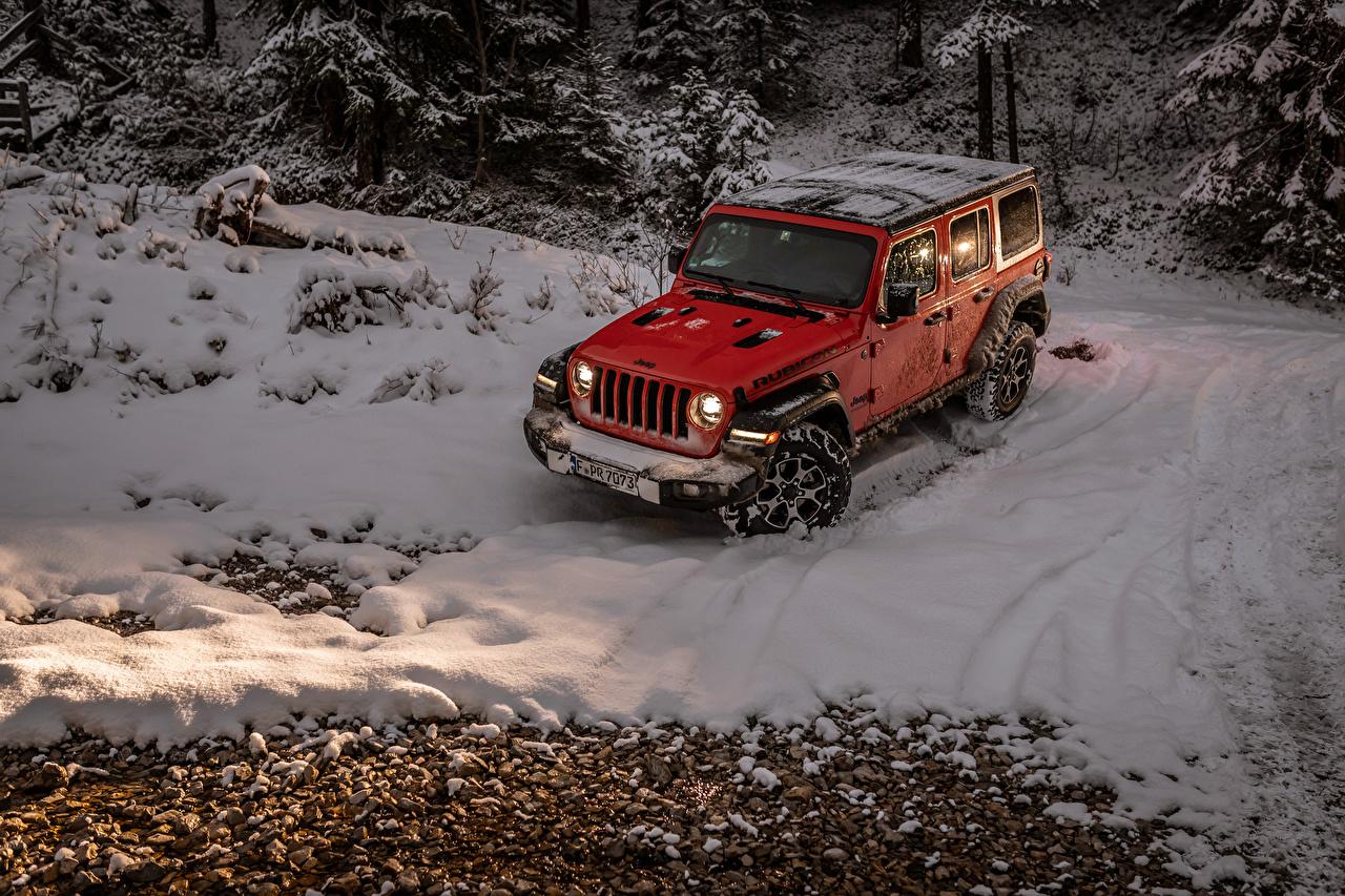 Картинки Джип Внедорожник 2018-19 Wrangler Unlimited Rubicon Красный Снег Автомобили Jeep SUV Авто Машины