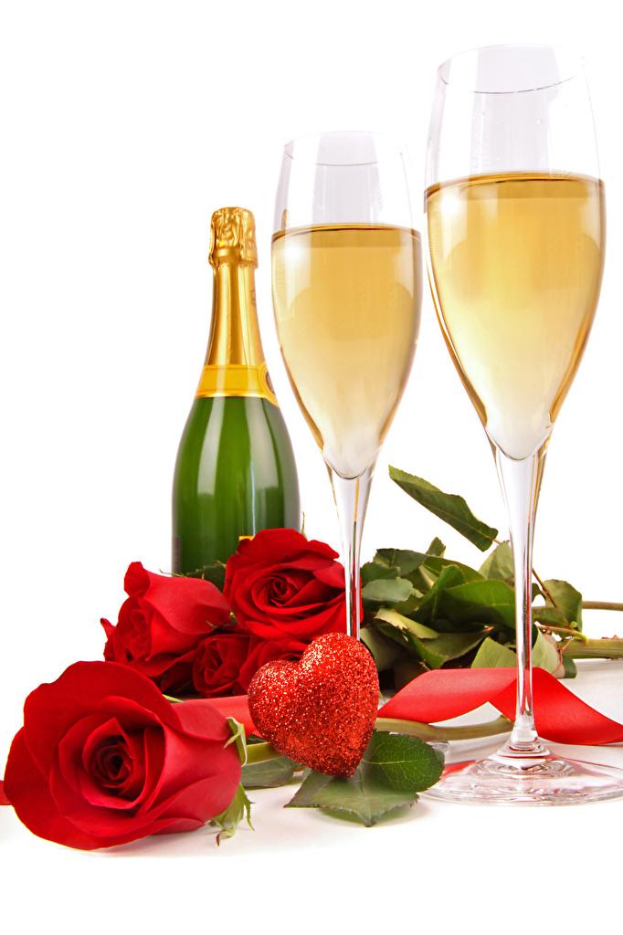 Обои День святого Валентина Сердце Розы Красный Шампанское Цветы Бокалы Бутылка Продукты питания Белый фон День всех влюблённых сердечко Игристое вино Еда Пища