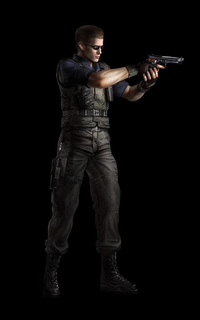 Фотография Resident Evil Пистолеты Мужчины Albert Wesker 3D Графика Игры Черный фон
