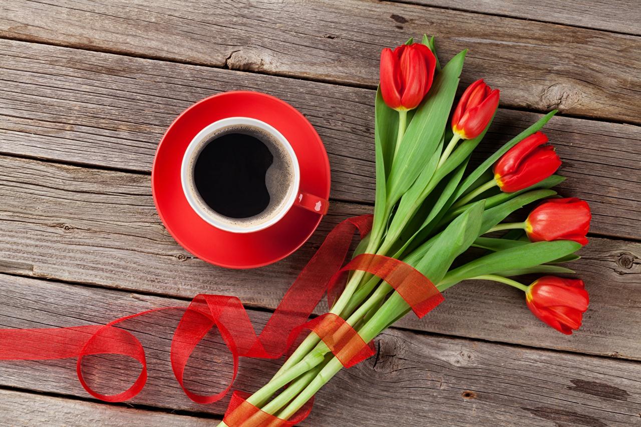 Фотографии Кофе Тюльпаны Цветы Чашка Доски