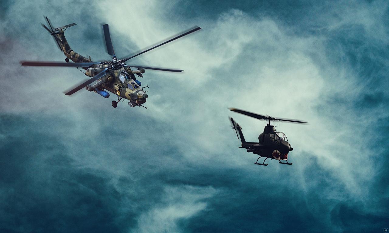Фотографии вертолет американский Русские MI-28, Havoc Bell AH-1 Cobra Авиация Вертолеты американская Американские российские