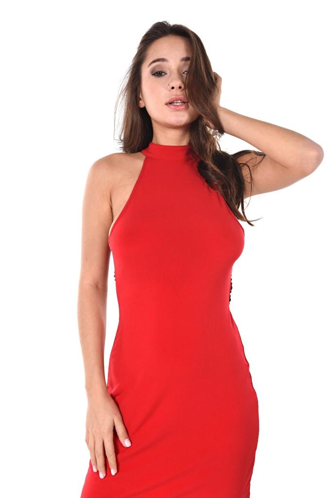 Картинки Liya Silver Шатенка Красный девушка Руки смотрят белом фоне платья  для мобильного телефона шатенки красная красные красных Девушки молодая женщина молодые женщины рука Взгляд смотрит Белый фон белым фоном Платье