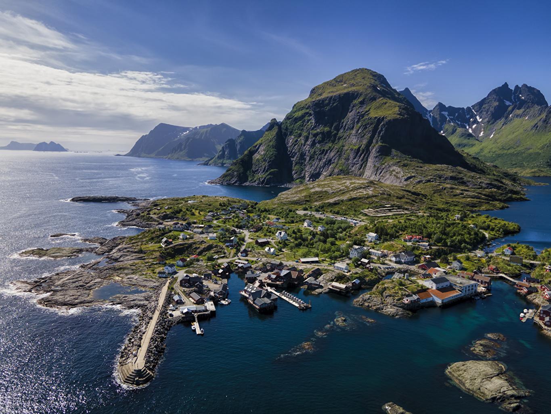Обои для рабочего стола Лофотенские острова Норвегия Горы Природа Сверху гора