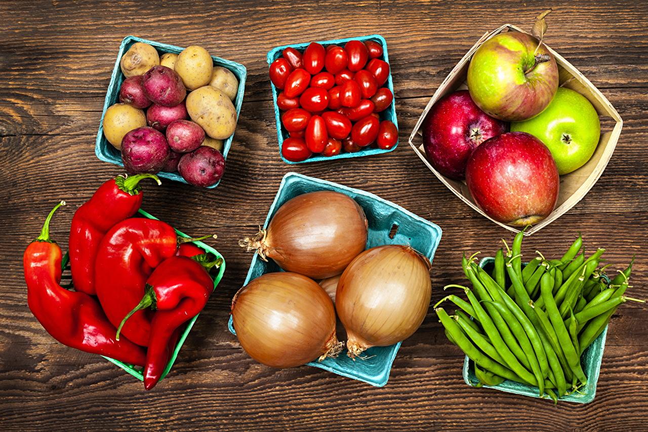 Картинки Помидоры Картофель Лук репчатый Яблоки Пища Овощи перец овощной Томаты картошка Еда Перец Продукты питания