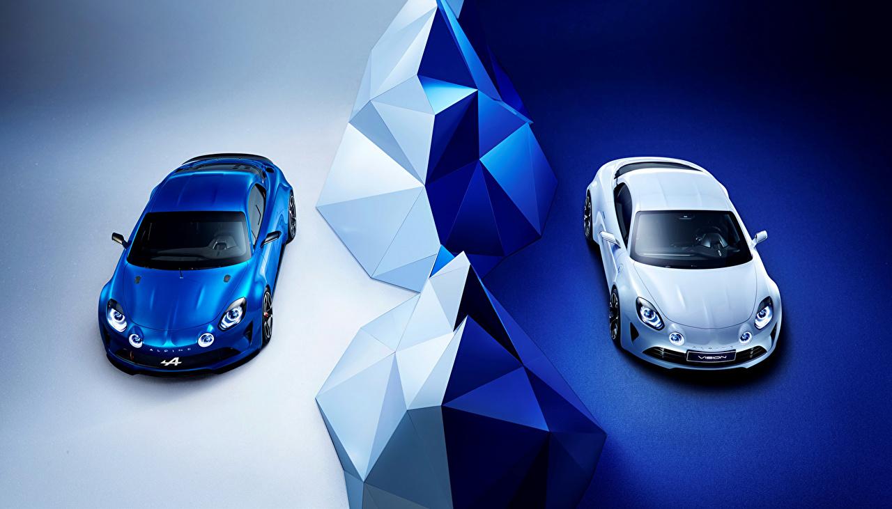 Картинки Renault Тюнинг 2016 Alpine Vision (Renault) два синих белые машины Металлик Рено Стайлинг 2 две Двое синие Синий синяя белая белых Белый вдвоем авто машина автомобиль Автомобили