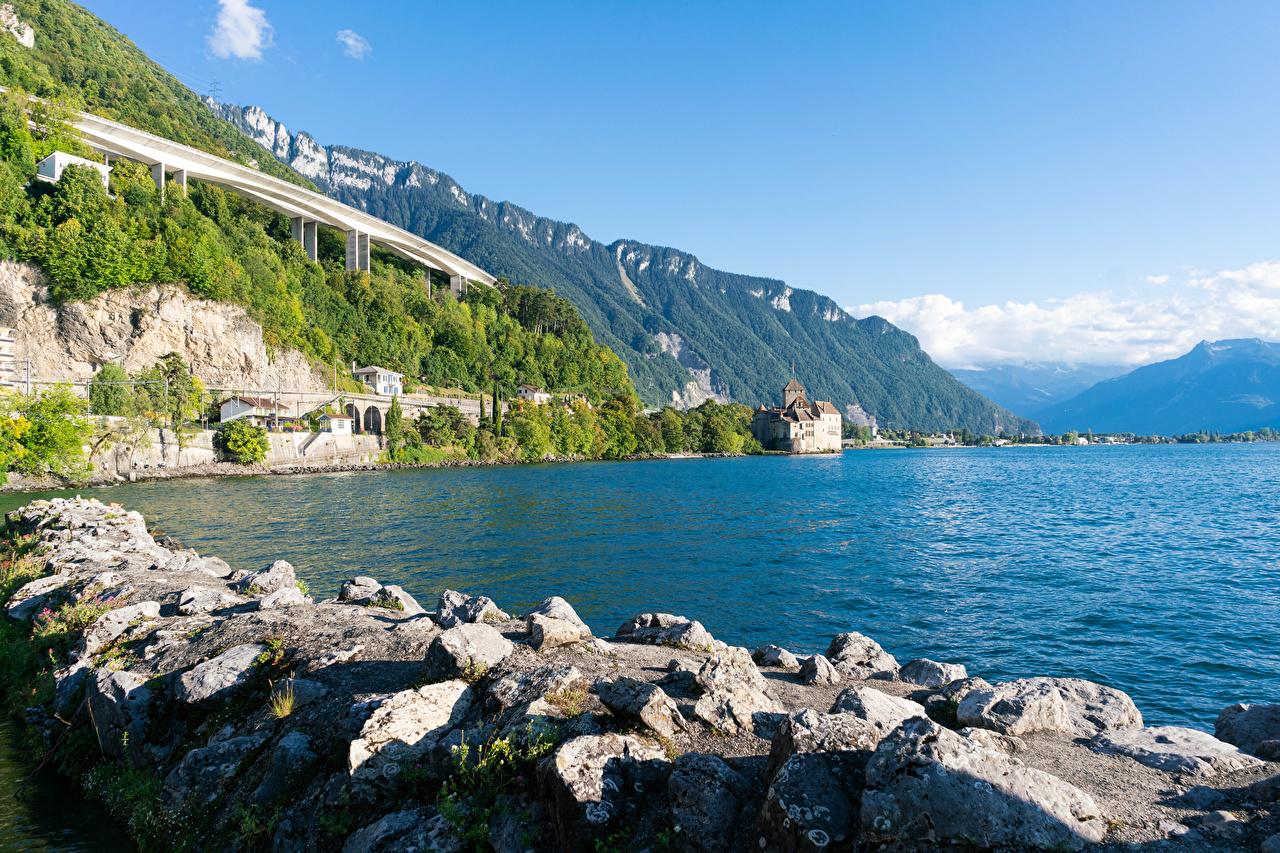 Картинки Швейцария lake Geneva Скала Природа Озеро Камень Побережье Утес скале скалы берег Камни