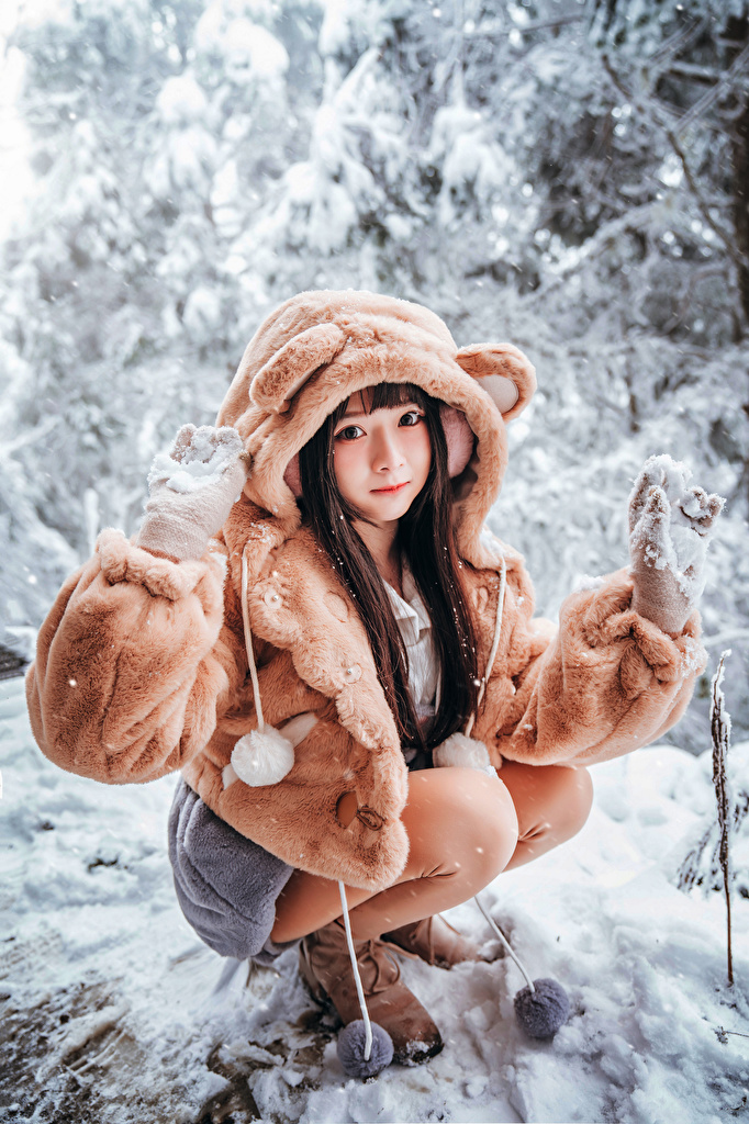 Фотография шубой Девушки Снег Азиаты сидящие Взгляд  для мобильного телефона шубе Шуба девушка молодая женщина молодые женщины снега снегу снеге азиатки азиатка сидя Сидит смотрит смотрят