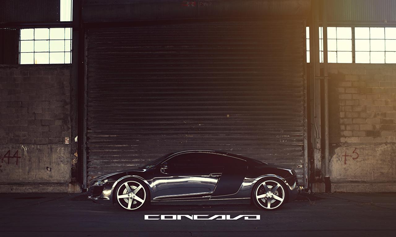 Картинка Audi Concavo R8 Chrome CW-5 Черный Сбоку машина Ауди черных черные черная авто машины автомобиль Автомобили