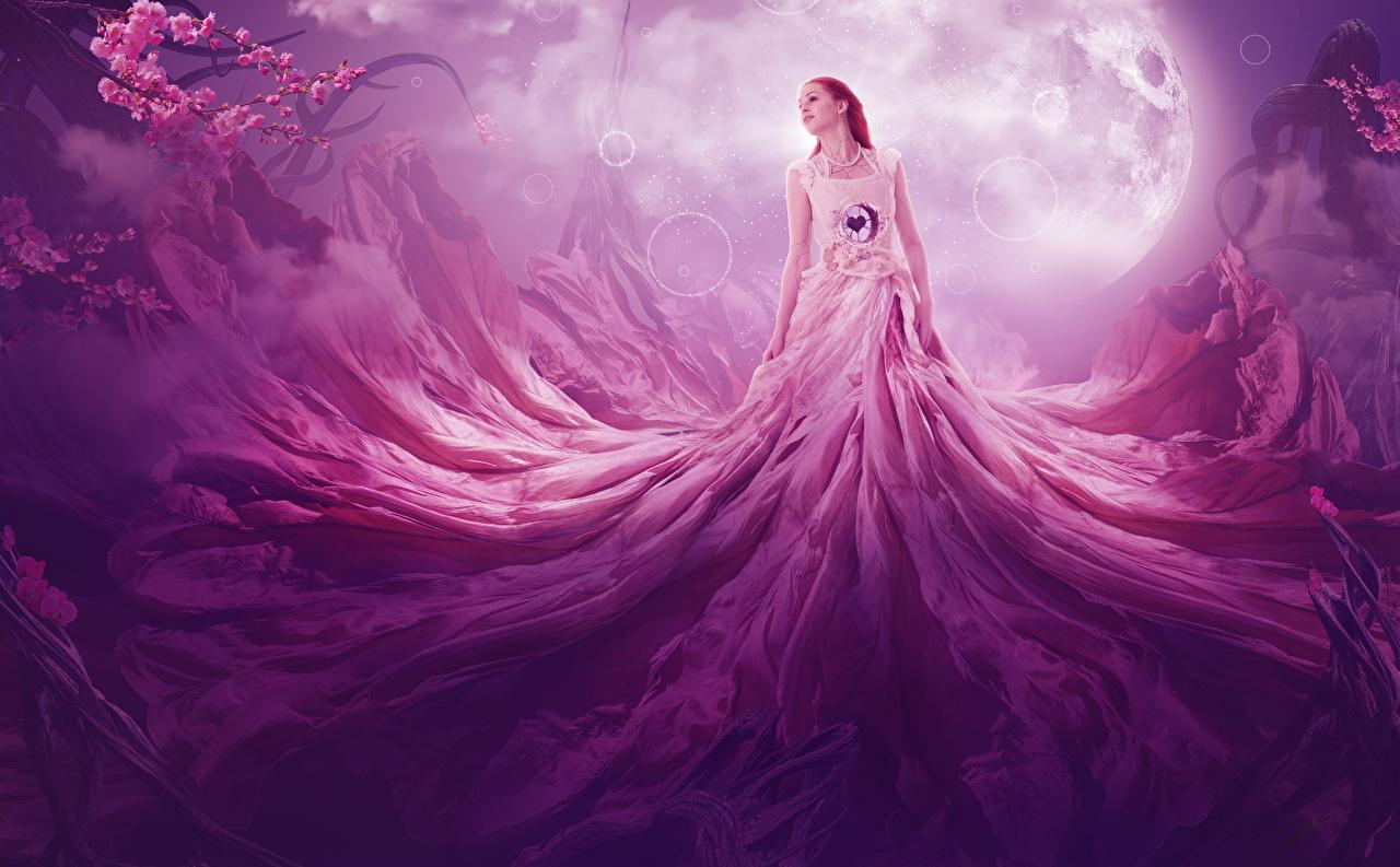 Фотография Рыжая Девушки Фэнтези Луна Платье Фантастика