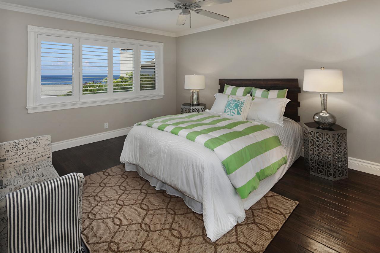 Картинки Спальня Интерьер Лампа Кровать Дизайн