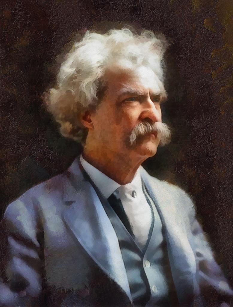 Фотографии Мужчины усами Mark Twain Рисованные Знаменитости  для мобильного телефона мужчина Усы человека