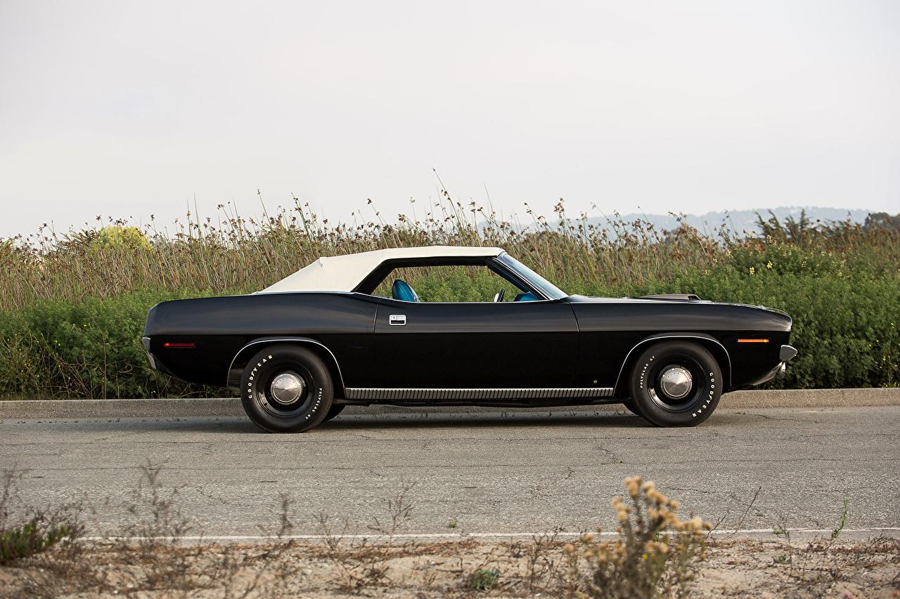 Картинка Плимут 1970 Cuda 440 Convertible Черный старинные Авто Сбоку Металлик Plymouth Ретро Винтаж Машины Автомобили