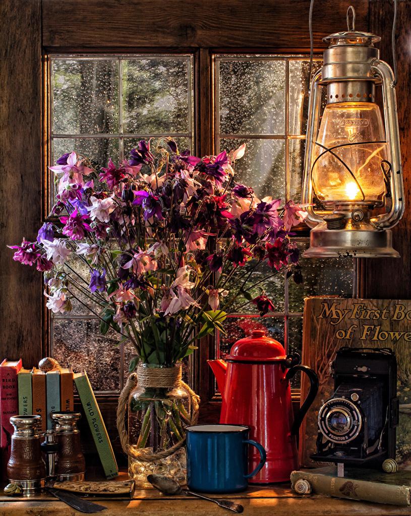 Фото Фотоаппарат букет Керосиновая лампа Чайник Ваза Книга Кружка Продукты питания Натюрморт фотокамера Букеты Еда вазе Пища вазы книги кружке кружки