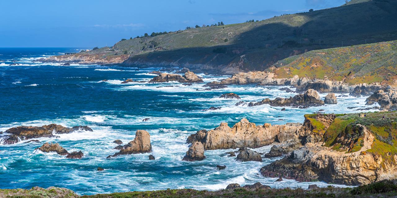 Картинки калифорнии США панорамная Big Sur Утес Природа берег Калифорния штаты америка Панорама Скала скале скалы Побережье
