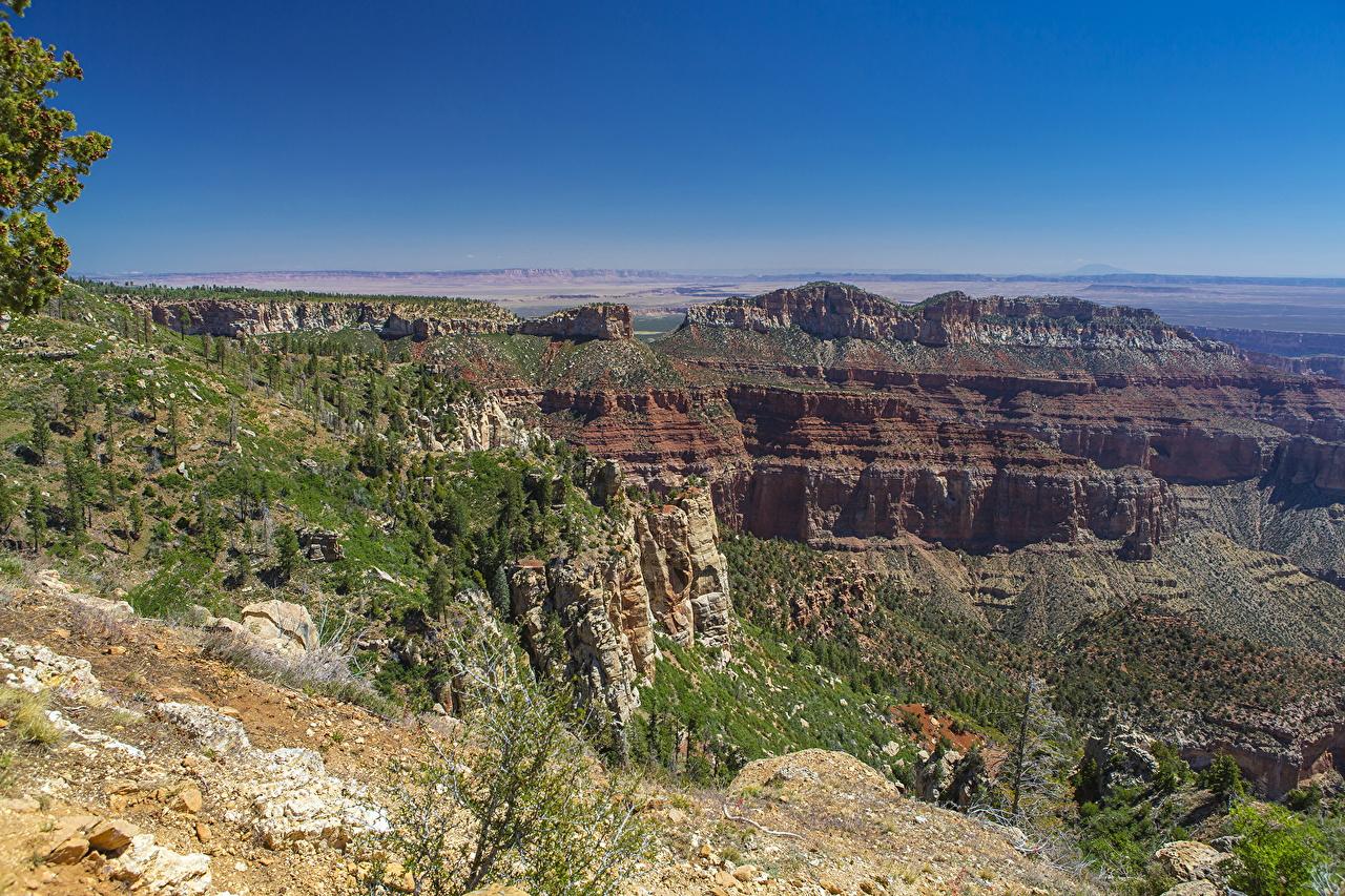 Фото Гранд-Каньон парк США Arizona Скала Каньон Природа Парки Пейзаж штаты америка Утес скале скалы каньона каньоны парк