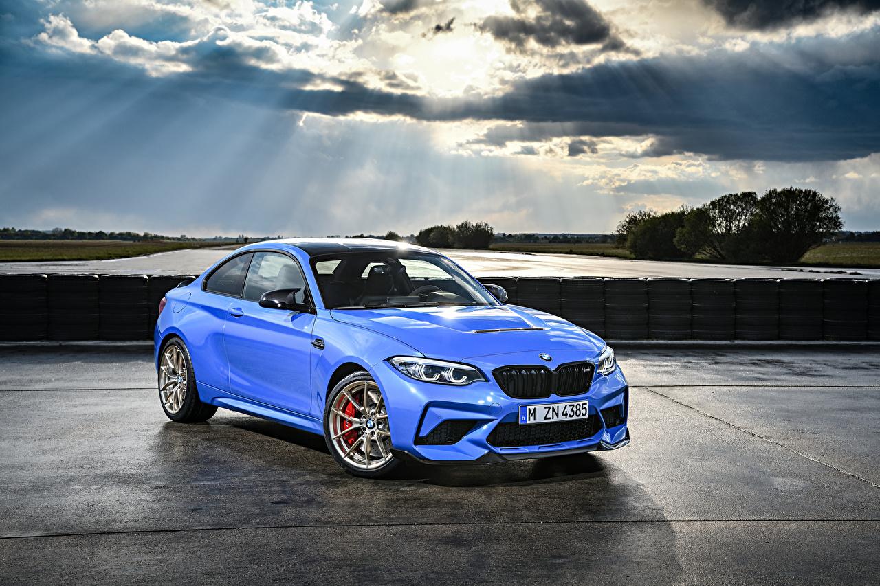Фотография BMW 2019 M2 CS Worldwide голубая Металлик Автомобили БМВ Голубой голубые голубых авто машины машина автомобиль