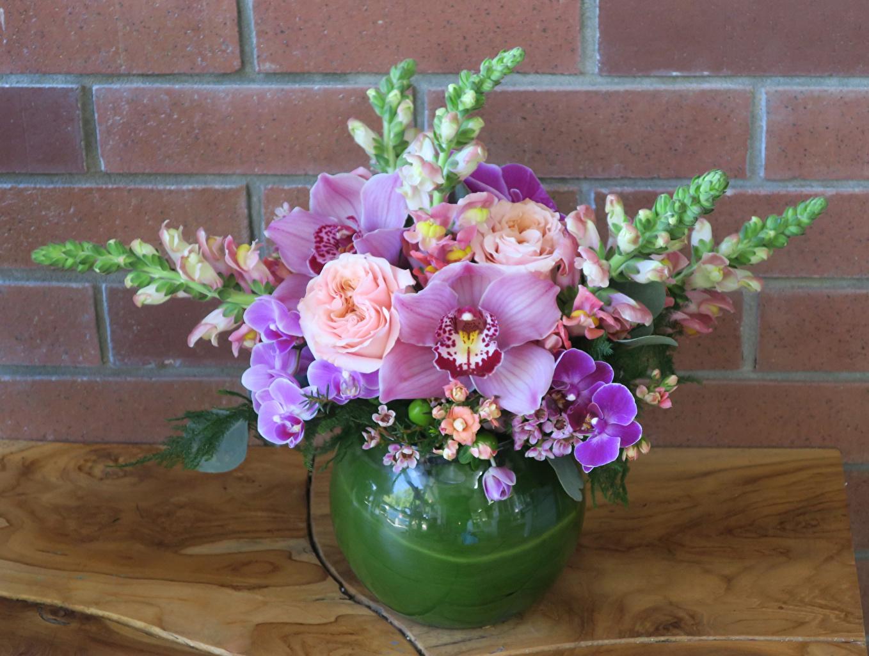 Картинки Букеты Розы орхидея Цветы Антирринум вазы букет роза Орхидеи цветок Львиный зев Ваза вазе