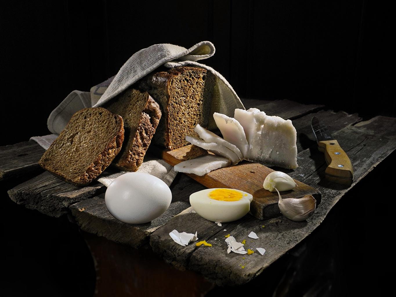 Фотография Яйца Сало Хлеб Чеснок Пища Еда Продукты питания