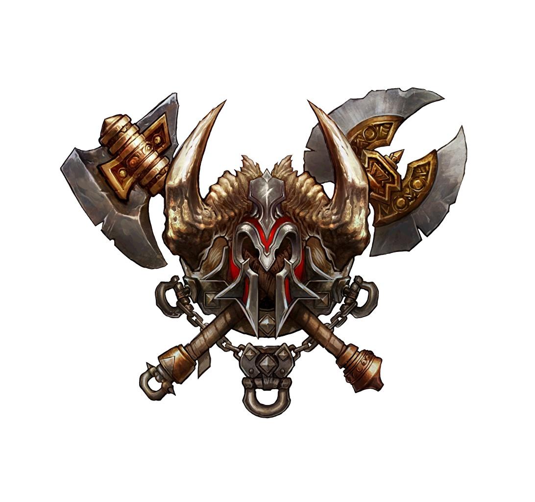 Фото Diablo 3 Боевые топоры / Секиры Рога Coat of Arms Barbarian Герб Фэнтези Игры Белый фон Diablo III Фантастика