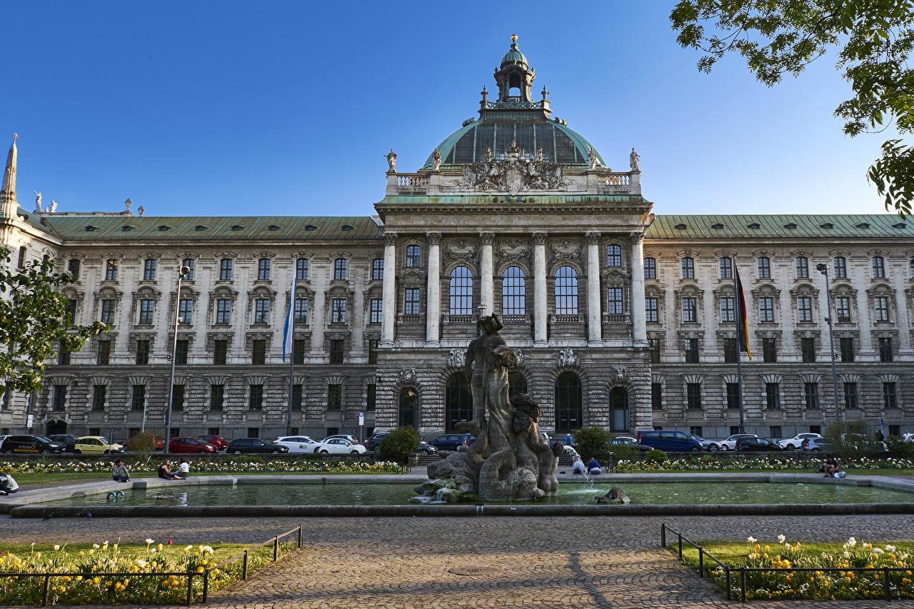 Фото Мюнхен Германия Фонтаны Здания Города Скульптуры Дома