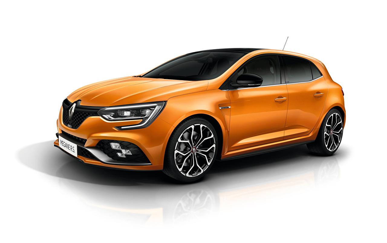 Фотографии Renault Megane R.S. Sport chassis оранжевых машины Металлик Белый фон Рено Оранжевый оранжевые оранжевая авто машина автомобиль Автомобили белом фоне белым фоном