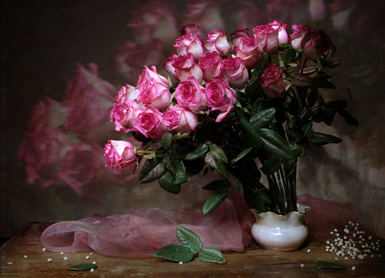 Картинка Букеты Розы Цветы Ваза
