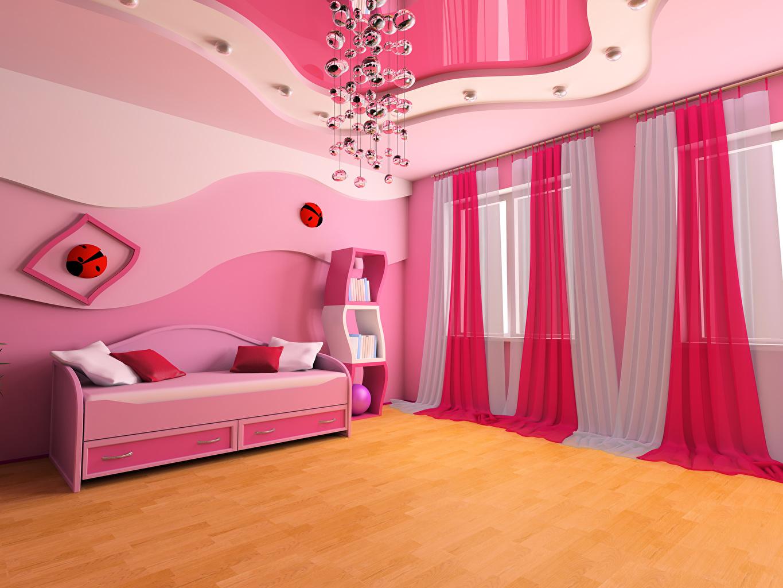 Обои для рабочего стола Детская комната Потолок Интерьер Диван люстры Шторы дизайна потолка Люстра диване Дизайн занавески