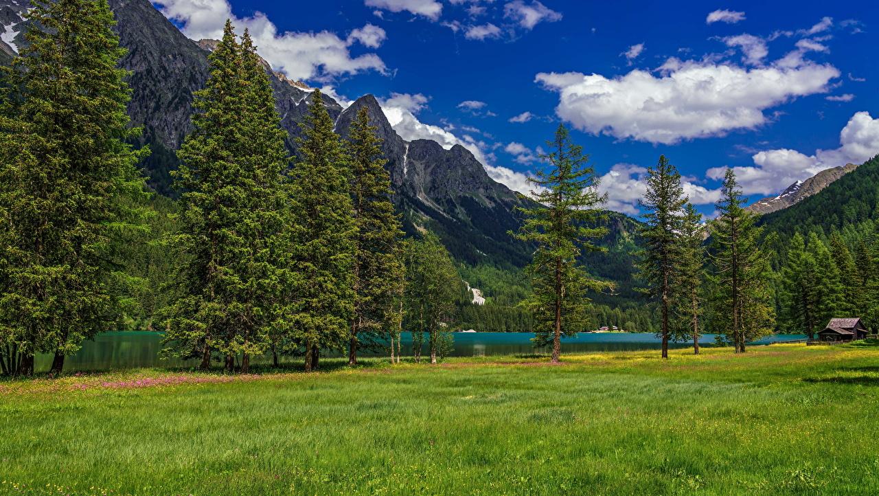 Фотографии альп Италия Lake Anterselva Горы Природа Озеро Облака дерево Альпы гора облако дерева облачно Деревья деревьев