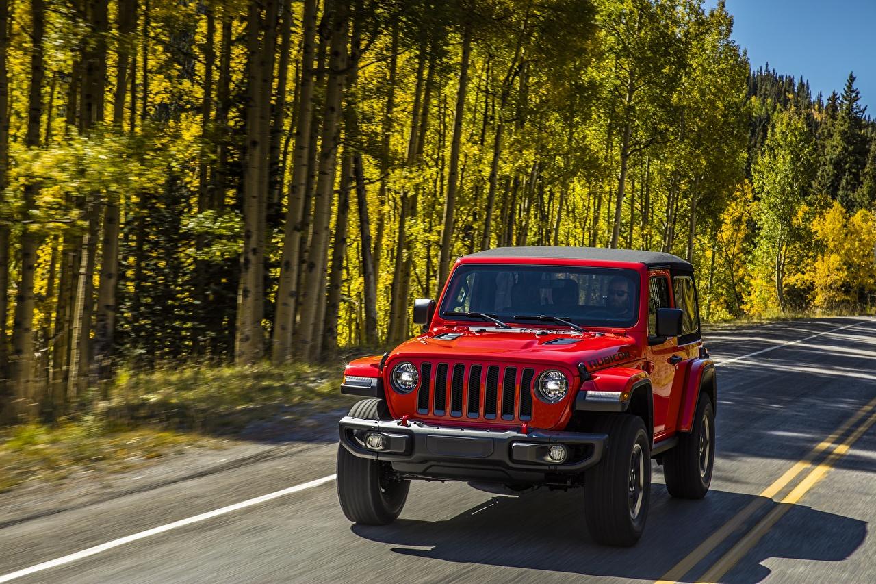 Фотографии Jeep Wrangler Rubicon 2018 красная машины Джип Красный красные красных авто машина Автомобили автомобиль