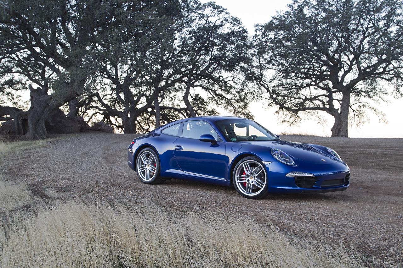 Обои для рабочего стола Порше 2011 911 Carrera S синих авто Металлик Porsche Синий синие синяя машина машины автомобиль Автомобили