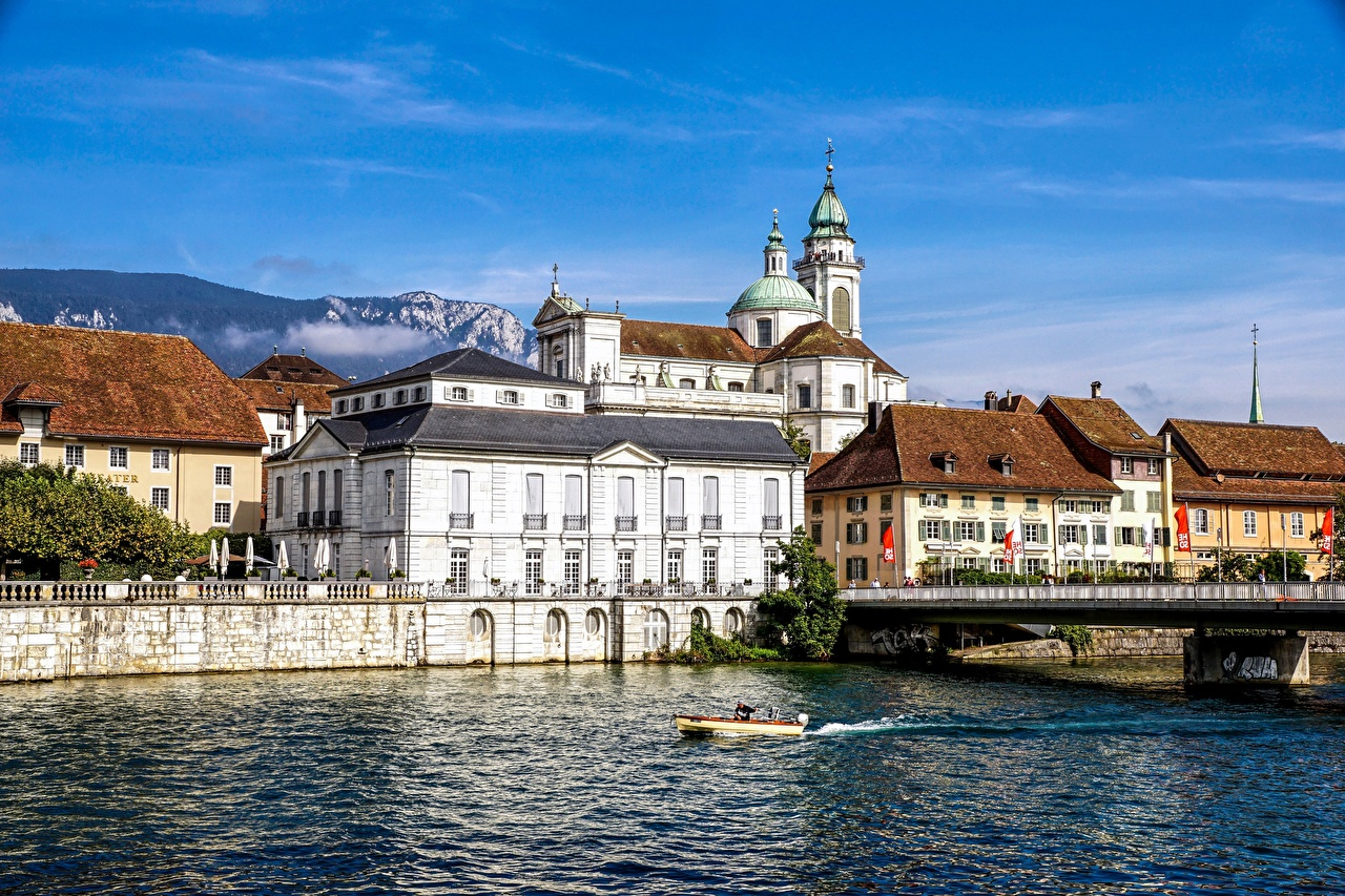 Фото Собор Швейцария Solothurn речка Дома Города река Реки город Здания