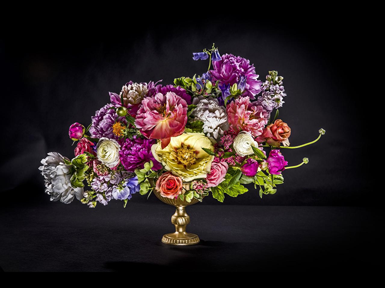 Картинки букет пион Цветы Лютик вазе Черный фон Букеты Пионы цветок вазы Ваза на черном фоне