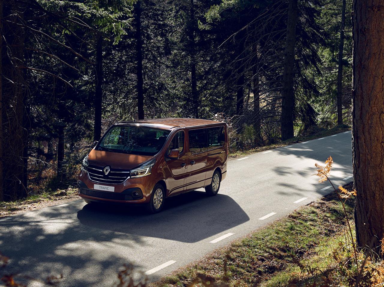Обои для рабочего стола Рено 2019 Trafic Minibus LWB Worldwide Коричневый машины Металлик Renault коричневая коричневые авто машина автомобиль Автомобили