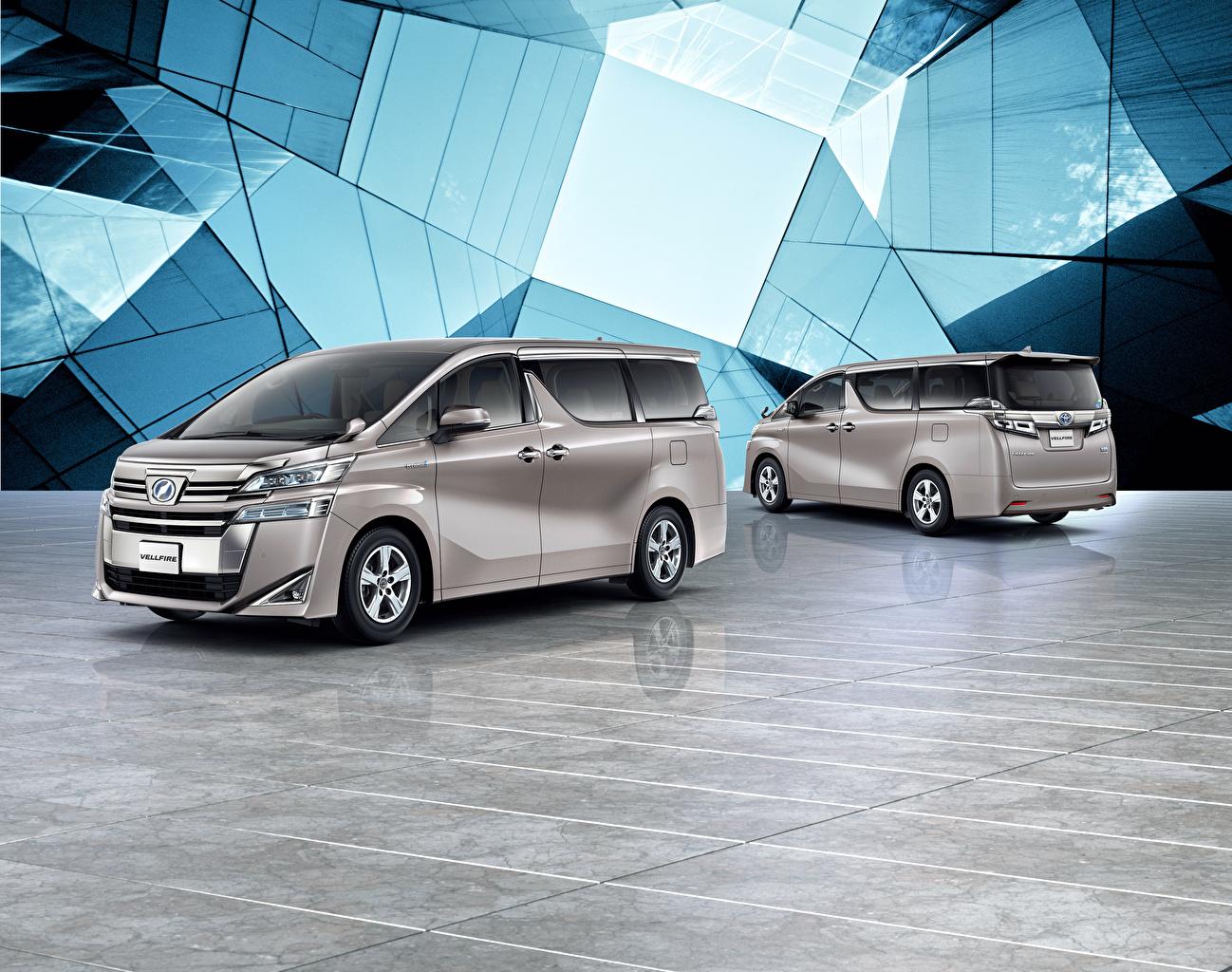 Фотографии Тойота 2018-19 Vellfire X Минивэн 2 серая авто Toyota две два Двое Серый серые вдвоем машина машины автомобиль Автомобили